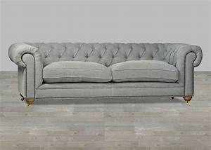 Sofa Chesterfield Style : upholstered sofa grey chesterfield style button tufted ~ Cokemachineaccidents.com Haus und Dekorationen