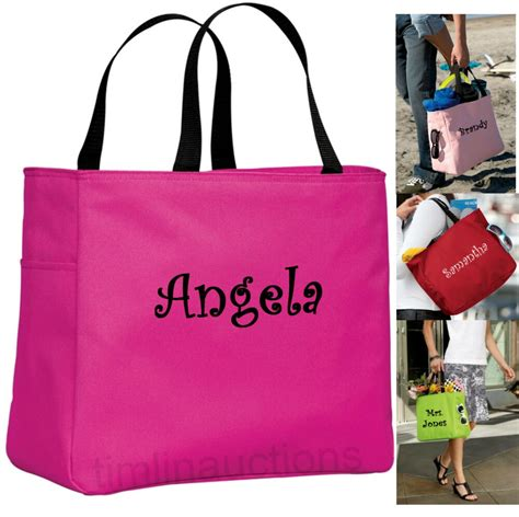 personalized tote bag monogram bride bridesmaid gift wedding teacher curlz font ebay
