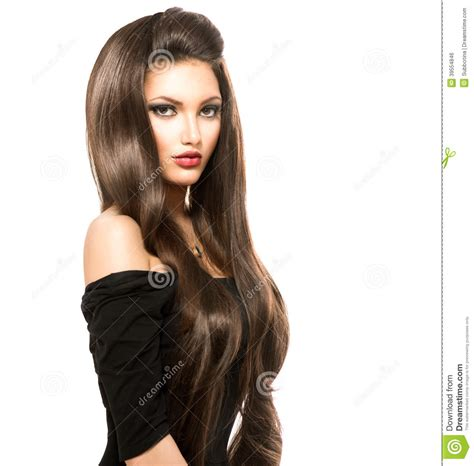 Shiny Brown Hair by With Shiny Smooth Brown Hair Stock Photo Image