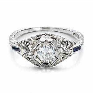 estate diamond and sapphire art deco engagement ring 100904 With art deco wedding rings