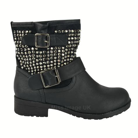 short biker boots womens ladies low heel studded buckle strap short biker