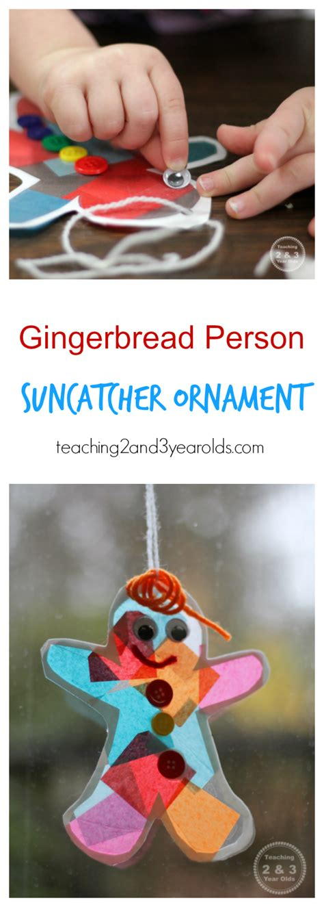 two year olds christmas crafts gingerbread suncatcher ornament