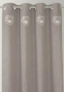 Rideau Gris Et Blanc : rideau brod gris coeur blanc ~ Teatrodelosmanantiales.com Idées de Décoration