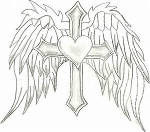 Drawing Of Crosses With Wings