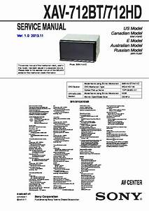 Sony Xav-712bt  Xav-712hd Service Manual