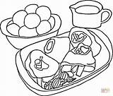 Coloring Steak Potatoes Pages Picnic Printable Meat Mashed Basket Super Puzzle sketch template