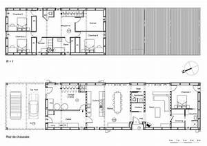 plan de maison tout en longueur With plan maison en longueur