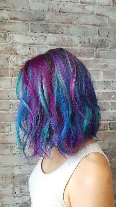 Mermaid Hair Teal Pink Blue Purple Hair Bob Haircut Cut