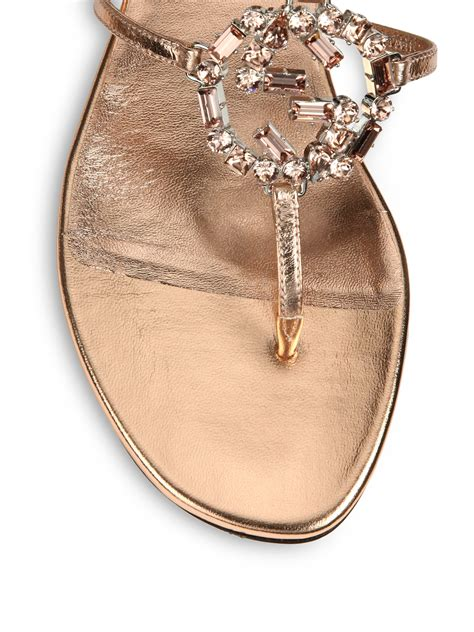 lyst gucci gg sparkling crystal leather sandals  pink