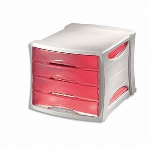 Banette De Rangement : module de classement rouge 4 tiroirs module de rangement classement box casier bloc bureau ~ Teatrodelosmanantiales.com Idées de Décoration