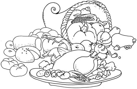 thanksgiving food coloring pages printable  coloring