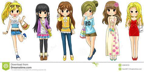 modern girl fashion cartoon collection set  vector