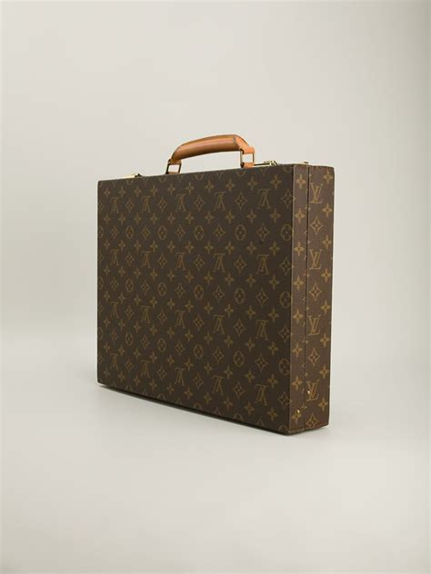 lyst louis vuitton monogram briefcase  brown  men