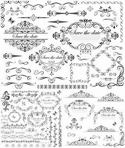 Wedding vector graphics blog page 5 for Classic decorative wedding invitations vector