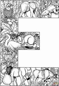 Letter E With Animals Coloring Page Free Printable Coloring Pages