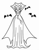 Vampire Coloring Pages Dracula Printable Halloween Cloak Cartoon Books Count sketch template