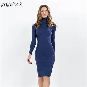 gagalook knitted winter dress women office sexy black red With robe maille femme