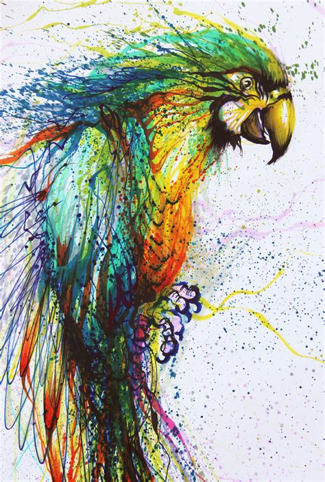 painting colors parrot artist on hua tunan