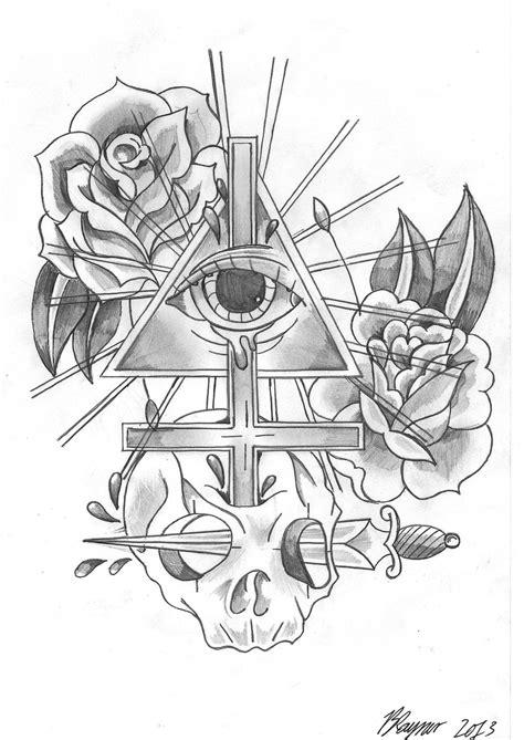Outline Clock Owl And Eye Pyramid Tattoos » Tattoo Ideas