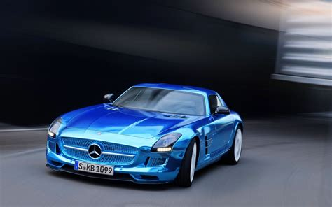 Light Blue Sports Cars by Mercedes Sls Amg Coupe Electric Driv Blue Front Car