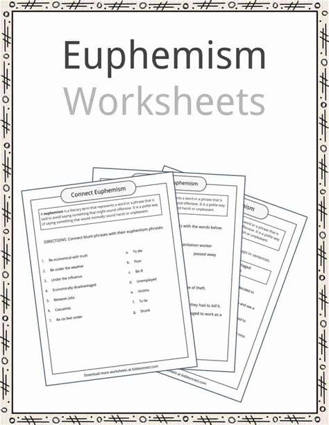 euphemism worksheet photos roostanama