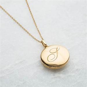 Engraved initial locket necklace by carrie elizabeth for Engraved letter necklace