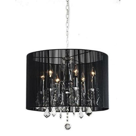 Black Chandelier Shade by Black Drum Shade Chrome Chandelier Lighting