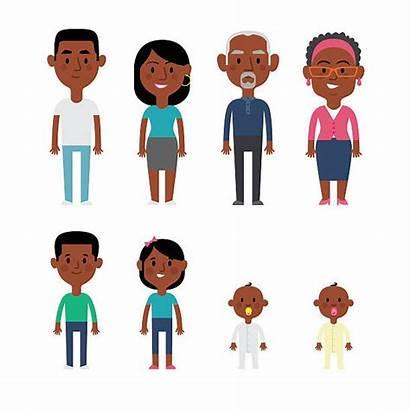 African American Members Vector Parents Illustration Children