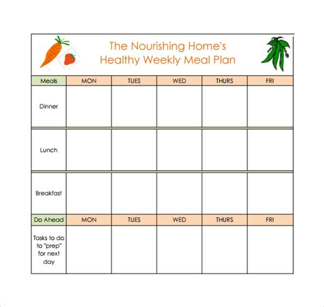 meal plan template 18 meal planning templates pdf excel word sle templates