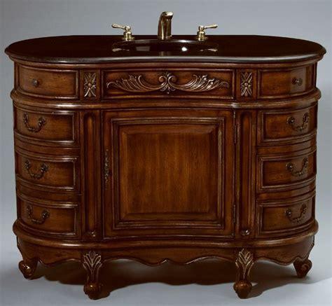 48 inch Essa Vanity   Side Drawers Vanity   Carved Accents
