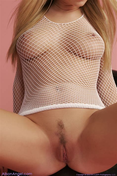 Smoking Hot Busty Blonde In White Fishnet Lingerie XBabe
