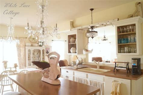 chandeliers shabby kitchen white lace