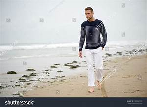 Handsome Young Caucasian Man Walking Alone Stock Photo ...