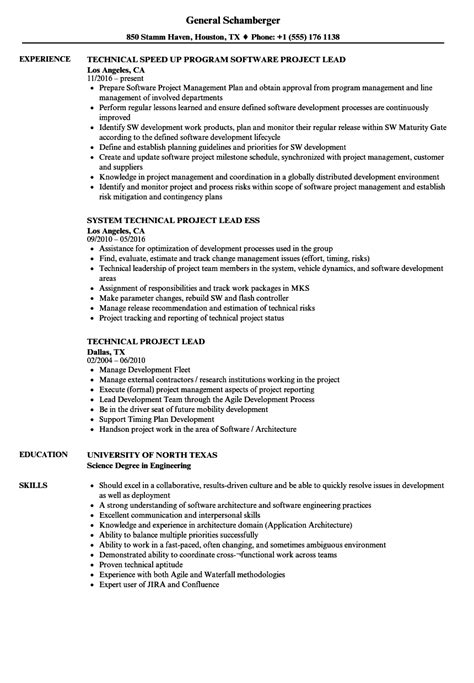 Project Lead Resume Sle by Project Lead Technical Project Lead Resume Sles