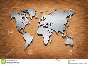 Carte Du Monde En Bois : carte du monde en m tal sur le bois illustration stock ~ Nature-et-papiers.com Idées de Décoration