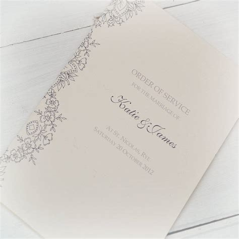 order of service order of service lace design by beautiful day notonthehighstreet