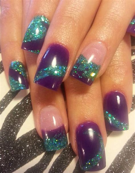 Purple and Teal Acrylic Nails