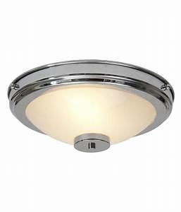 Art deco chrome flush ceiling light