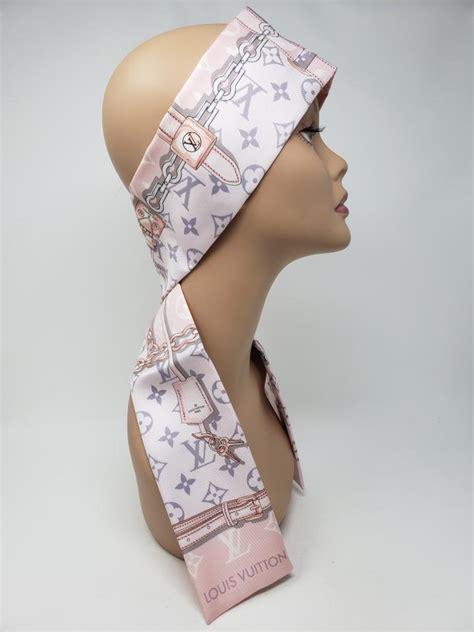 louis vuitton multicolor pink silk lv monogram confidential bandeau scarfwrap tradesy