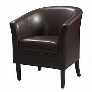 Faux Leather Club Barrel Chair in Blackberry - 36077BER-01