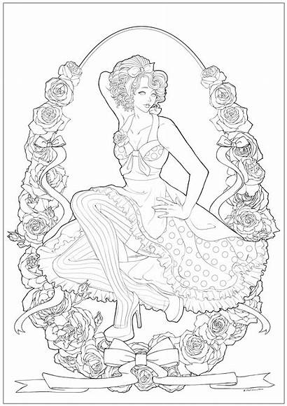 Coloring Pages Retro Woman Adult Adults Young