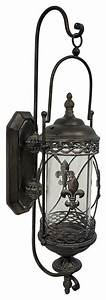 large rustic fleur de lis glass and metal hanging wall With what kind of paint to use on kitchen cabinets for metal sconce candle holder