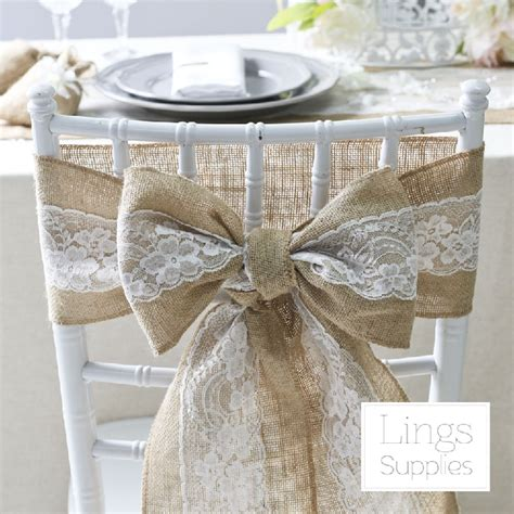 2016 10pcs hessian chair sashes jute burlap lace rustic
