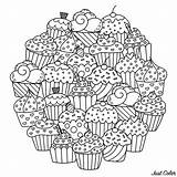 Cupcakes Mandala Cakes Coloring Cup Circle Mandalas Cake Pages Making Adult Want Delicious Round Those Perfect Them Composing Colors Favorite sketch template