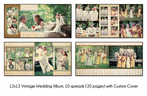 digital book wedding template vol 1 to 7 vintage 12x12 quot album template 10 spread 20 page design