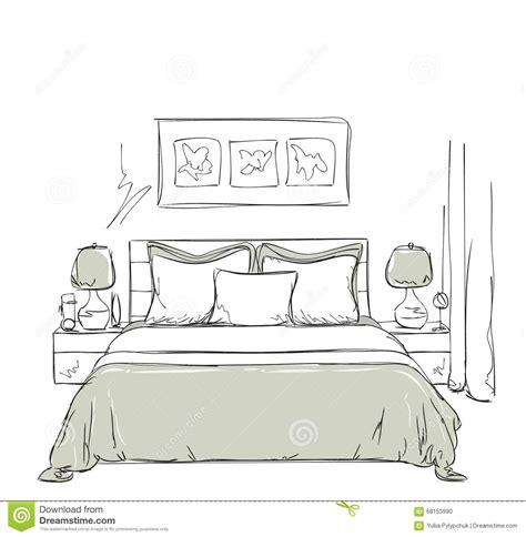 dessin d une chambre dessin intérieur moderne de chambre à coucher illustration