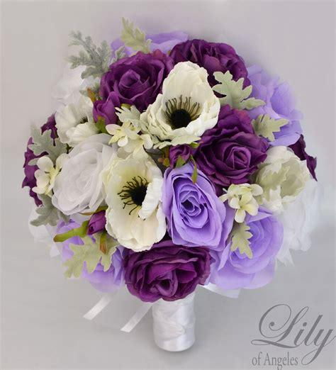 piece package silk flower wedding bridal bouquets plum