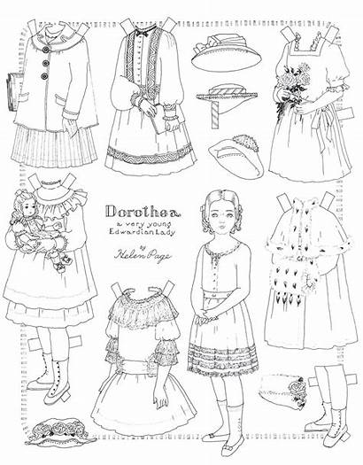 Paper Doll Dolls Pages Coloring Printable Crafts