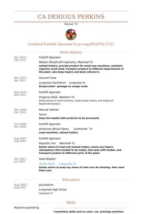 Forklift Driver Resume Template by Forklift Resume Exles Search Results Calendar 2015