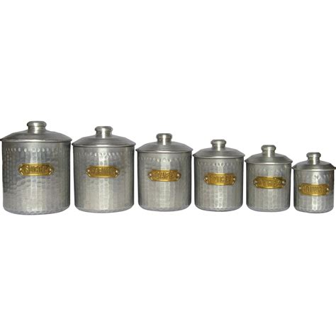 antique kitchen canisters set of dimpled aluminum vintage kitchen canisters